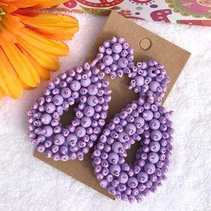 Large Boho Seed Bead Purple Post Drop Earrings